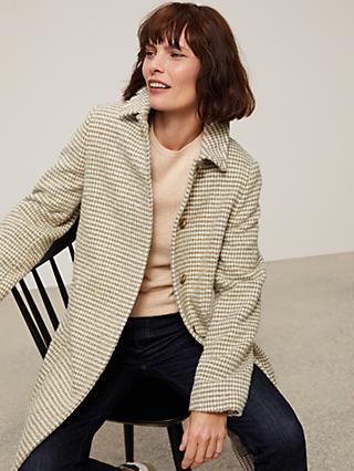 John Lewis & Partners Dogtooth A-Line Wool Blend Coat, Neutral