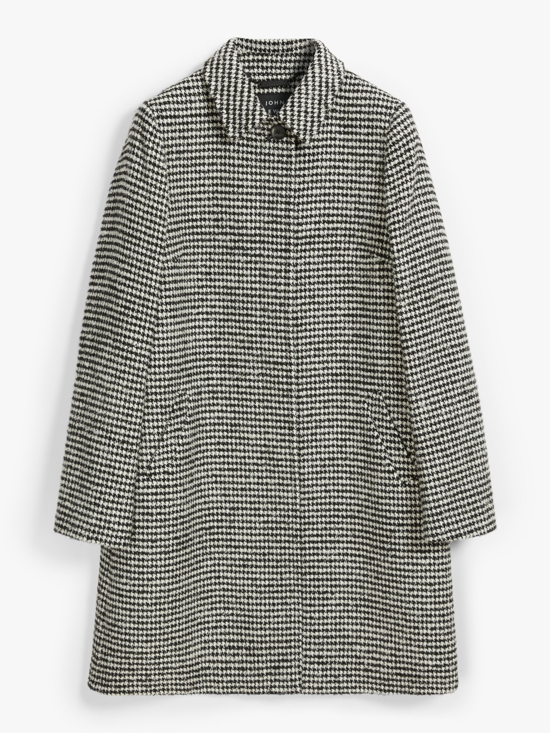 John Lewis & Partners Dogtooth A-Line Wool Blend Coat, Black, 8