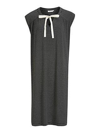 Masai Copenhagen Ocean Striped Tie Neck Dress, Black