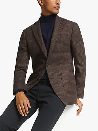 John Lewis & Partners Check Wool Suit Blazer, Brown/Navy