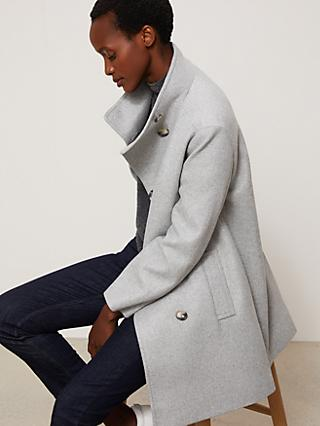 John Lewis & Partners Grown On Twill Funnel Neck Coat, Grey