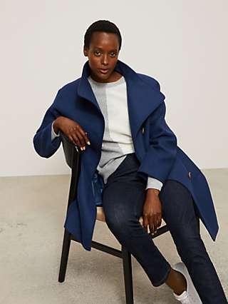 John Lewis & Partners Grown On Twill Funnel Neck Coat, Dark Blue
