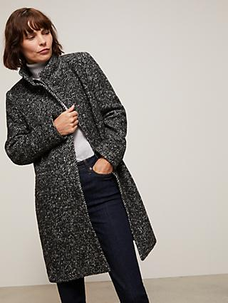 John Lewis & Partners Textured Funnel Neck Coat