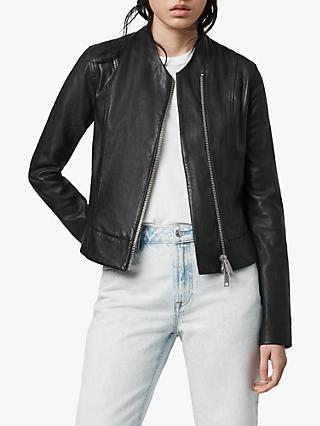 AllSaints Jae Leather Biker Blazer, Black