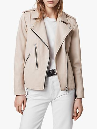 AllSaints Elva Leather Biker Jacket, Pale Pink