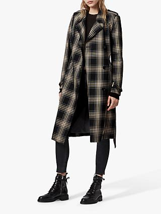 AllSaints Chiara Check Trench Coat, Black/Chalk white