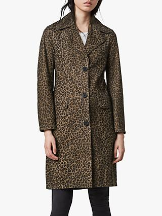 AllSaints Leo Leopard Print Leather Mac, Multi