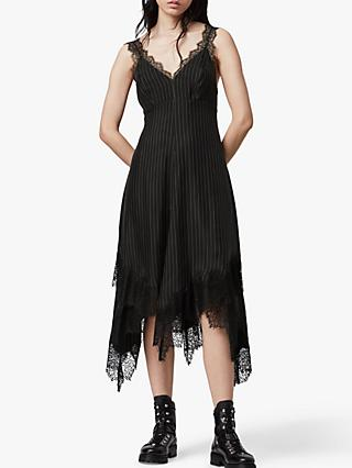 AllSaints Skylar Striped Lace Trim Dress, Black