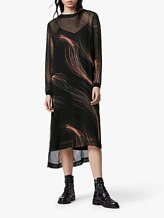 AllSaints Ada Streamline Abstract Print Midi Dress, Black