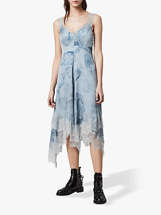 AllSaints Skylar Hatsukoi Lace Trim Satin Dress, Powder Blue