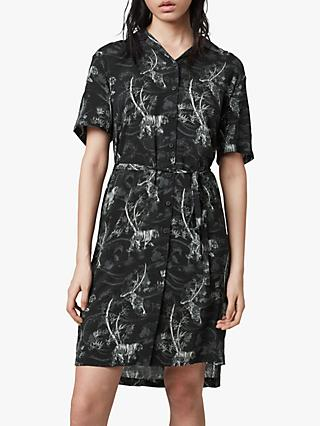 AllSaints Athea Strength Floral Mini Dress, Black