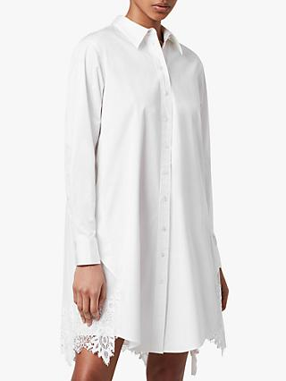 AllSaints Iris Lace Embellished Shirt Dress, Chalk White