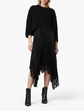 AllSaints Aspyn 2-in-1 Jumper Midi Dress, Black/Navy