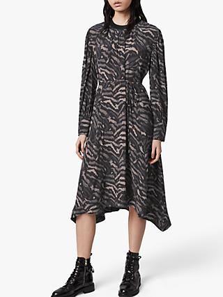 AllSaints Fayre Remix Animal Print Midi Dress, Grey