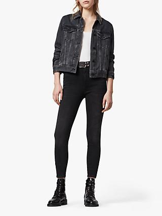 AllSaints Phoenix Ultra High Rise Super Stretch Skinny Jeans, Soft Black