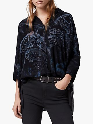 AllSaints Savanna Hatsukoi Shirt, Oil Black