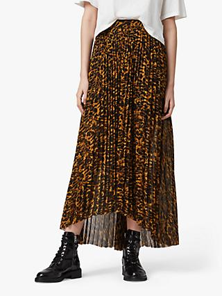 AllSaints Cora Ambient Animal Print Pleated Maxi Skirt, Brown