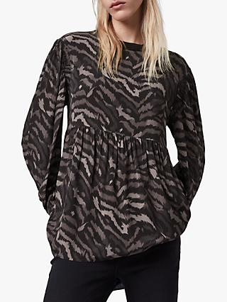 AllSaints Fayre Remix Animal Print Top, Grey