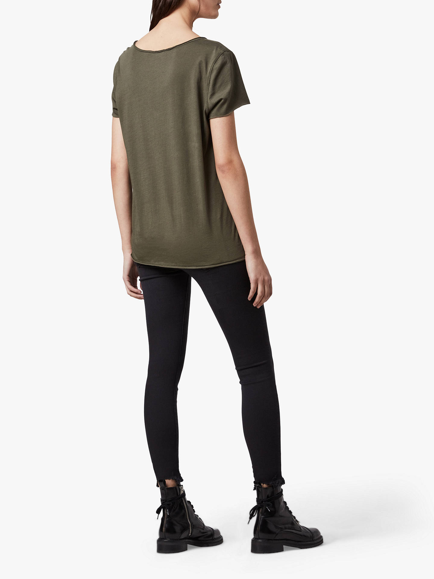 Buy AllSaints Emelyn Tonic T-Shirt, Khaki, XS Online at johnlewis.com