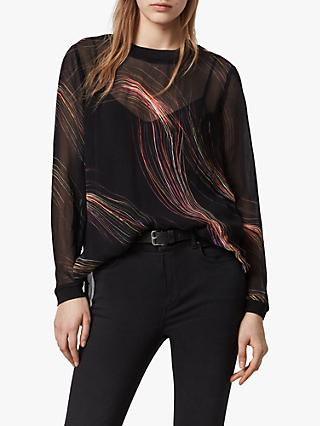 AllSaints Ada Streamline Abstract Print Top, Black