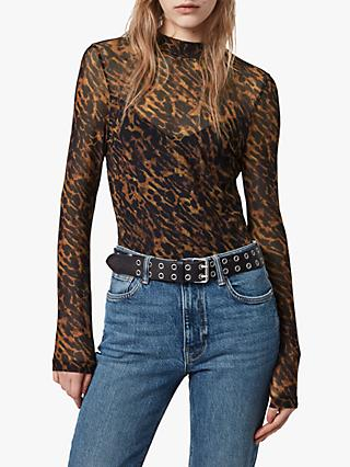 AllSaints Ambient Elia Animal Print Bodysuit, Brown