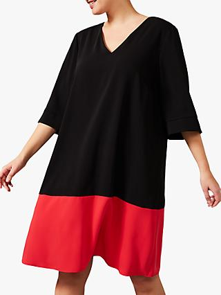 Studio 8 Blythe Colour Block Swing Dress, Black/Red