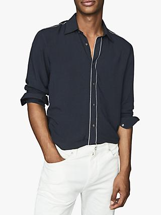 Reiss Player Piped Detail Long Sleeve Shirt