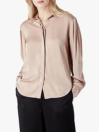 Finery Leon Satin Shirt, Taupe