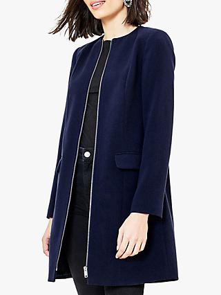 Oasis Collarless Zip Coat