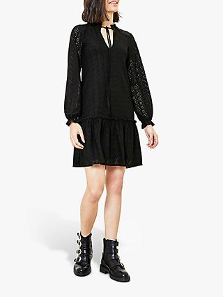 Oasis Broderie Dropped Waist Dress, Black