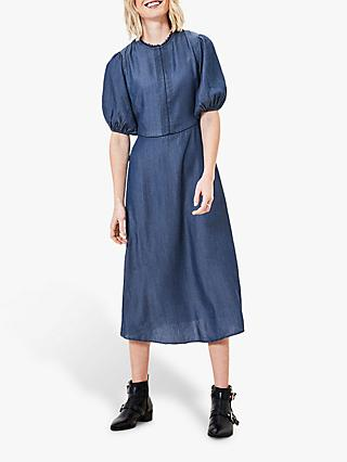 Oasis Lace Pintuck Midi Dress, Denim