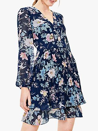 Oasis Floral Pleat Mini Dress, Navy