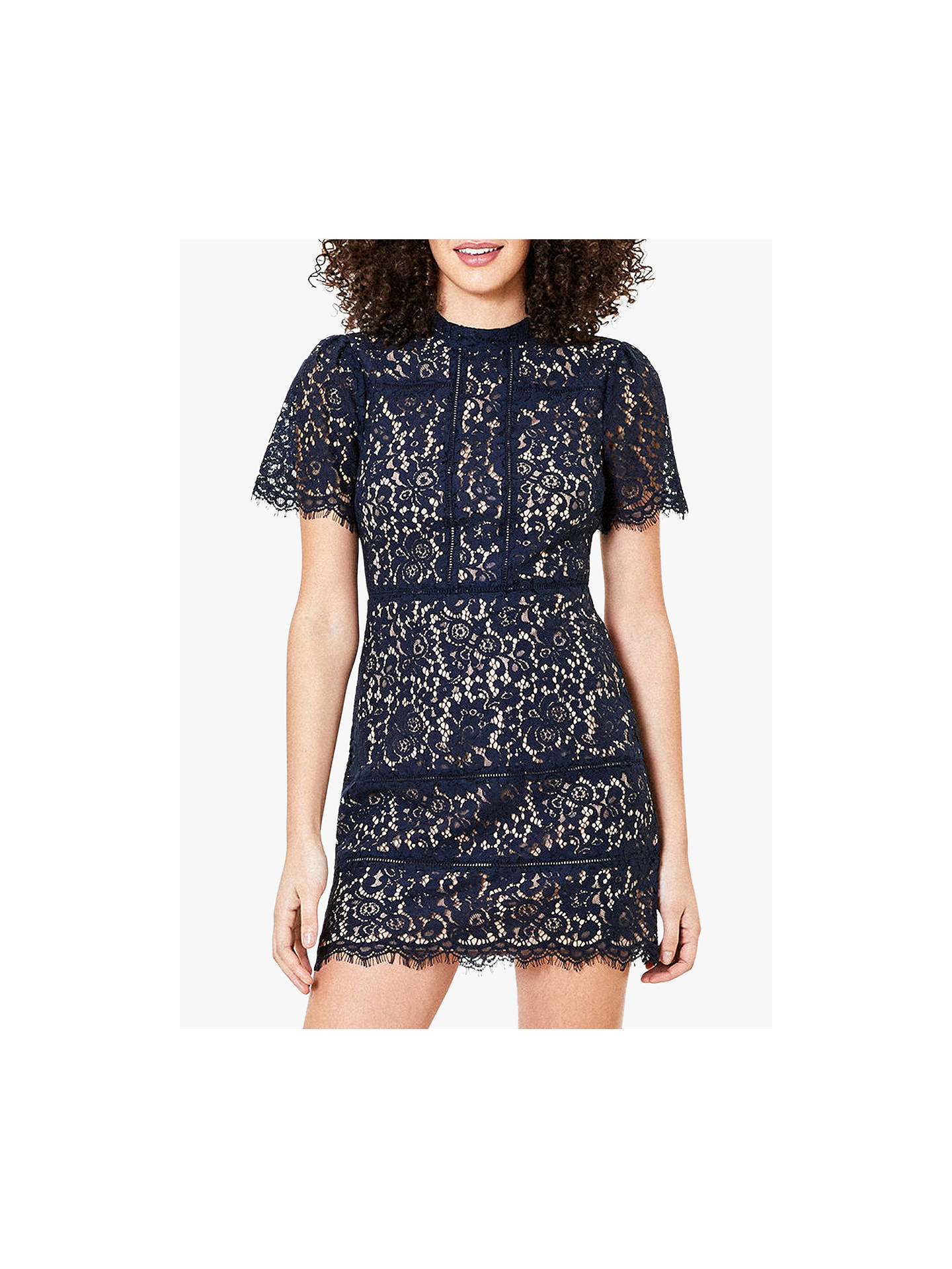Buy Oasis Lace Shift Dress, Navy, 6L Online at johnlewis.com
