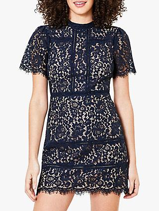 Oasis Lace Shift Dress, Navy