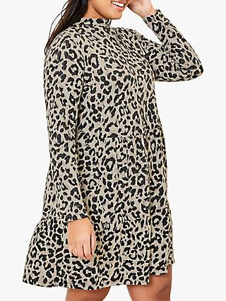 Oasis Curve Cosy Leopard Print Dress, Natural/Multi