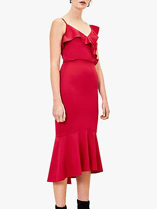 Oasis Satin Tail Midi Dress, Red