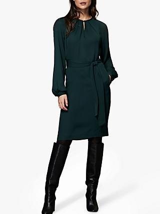 Winser London Georgette Shift Dress, Dark Green
