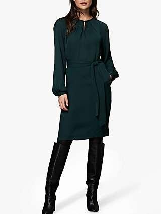 Winser London Georgette Shift Dress, Dark Green