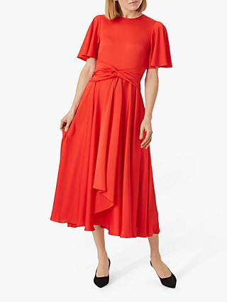 Hobbs Leia Midi Dress, Flame Red