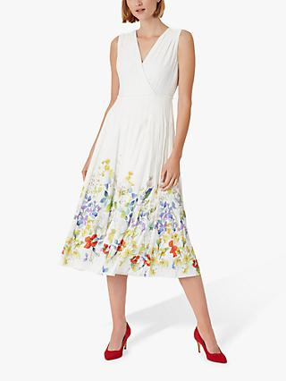 Hobbs Summer Floral Print Midi Dress, Ivory/Multi