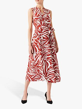 Hobbs Shelly Leaf Print Midi Dress