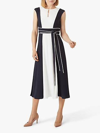 Hobbs Rae Colour Block Midi Dress, Navy/Ivory