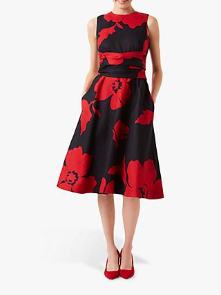 Hobbs Petite Linen Twitchill Dress, Navy/Red