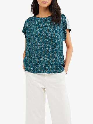 White Stuff Faye Mixed Print Top, Wine Plum Print