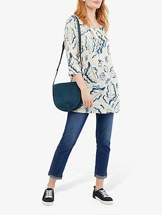 White Stuff Elodie Linen Tunic, Canvas White Print