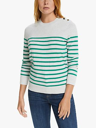 Collection WEEKEND by John Lewis Stripe Button Crew Sweater, Grey/Green