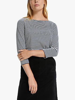Collection WEEKEND by John Lewis Stripe Boat Neck Top, Navy/Ivory
