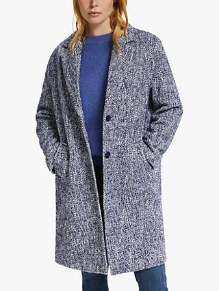 Collection WEEKEND by John Lewis Wool Blend Moxie Textured Herringbone Coat, Navy