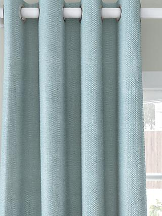 John Lewis & Partners Basket Weave Pair Blackout Lined Eyelet Curtains