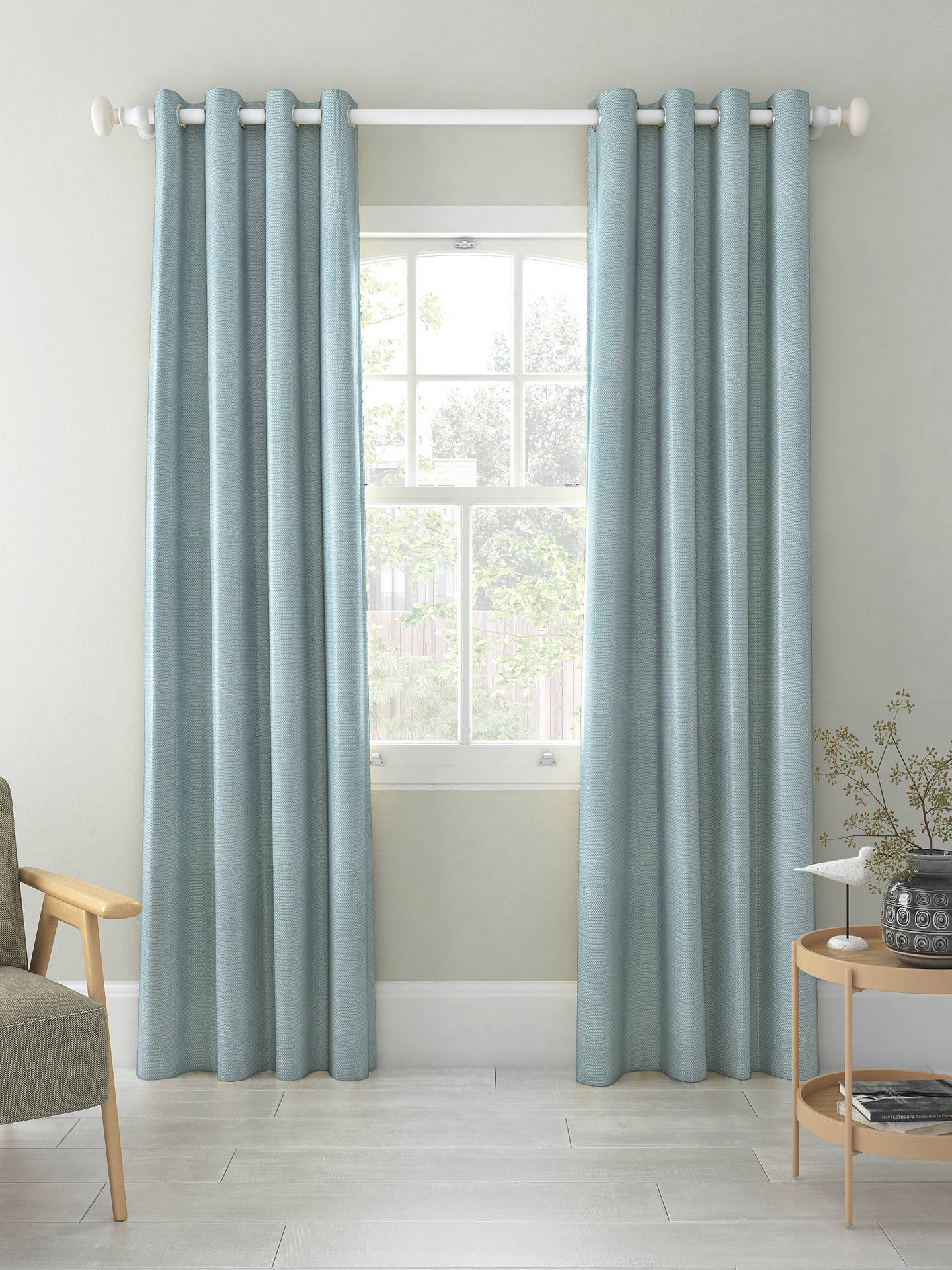 Buy John Lewis & Partners Basket Weave Pair Blackout Lined Eyelet Curtains, Mineral Blue, W167 x Drop 137cm Online at johnlewis.com